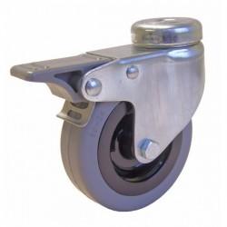 ROULETTE A OEIL (avec frein ) CORPS NYLON D.100 AL LISSE 80 kg