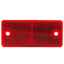 CATADIOPTRE ROUGE RECTANGLE ADHESIF(avec 2 trous de fixation ) 90 X 40 mm