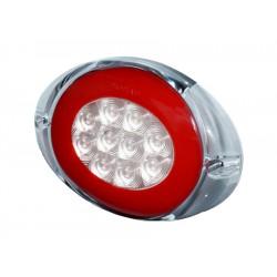 Feu arriere 3 fonctions ( Stop-Veilleuse-Clignotant )LED PRO-OVAL 12/24 volts, câble 0,5m