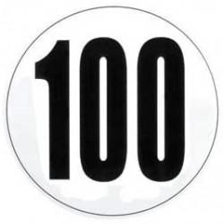 DISQUE DE LIMITATION DE VITESSE POUR POIDS LOURDS ADHÉSIF 100 KM ( diamètre 200 mm )