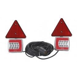 KIT DE 2 FEUX ARRIERE GAUCHE / DROIT MAGNETIQUE 12/24 V -LED + 2 TRIANGLES ( avec 7.5 METRES cable )
