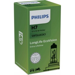 AMPOULE H7 ECOVISION LONG LIFE PHILIPS 12V 55W ( CULOT : PX 26 d )