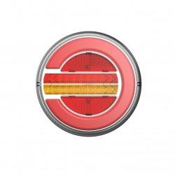FEU ARRIÈRE ROND GAUCHE ET DROIT 12/24V LED A CLIGNOTANT A DÉFILEMENT AVEC CÂBLE DE 2 MÈTRES ( Diamètre 140 mm)