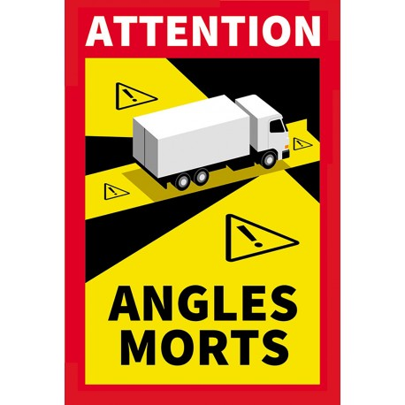 """Adhésif """" Angles morts """" pour Poids lourds ( 25 x 17 cm )"""