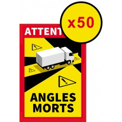 """Lot de 50 Adhésifs """" Angles morts """" pour Poids lourds ( 25 x 17 cm )"""