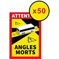 """Lot de 50 Adhésifs """" Angles morts """" pour BUS ( 25 x 17 cm )"""