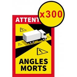 """Lot de 300 Adhésifs """" Angles morts """" pour Poids lourds ( 25 x 17 cm )"""