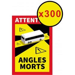 """Lot de 300 Adhésifs """" Angles morts """" pour BUS ( 25 x 17 cm )"""