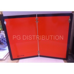 PLAQUE DE DANGER ALU ORANGE PLIABLE VERTICALEMENT 400 X 300MM