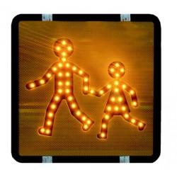 JEU DE 2 PICTOGRAMMES LUMINEUX LED A COLLER TRANSPORT D'ENFANTS 12/24V