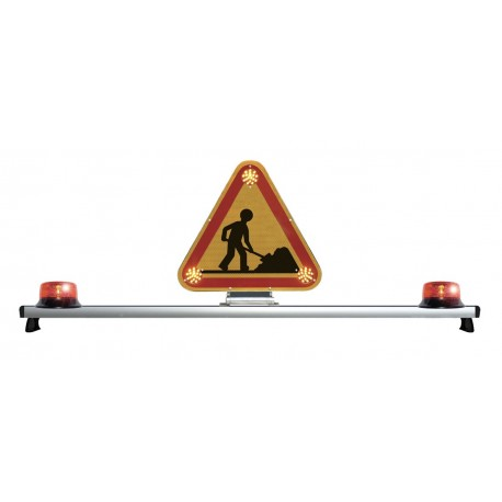 BARRE DE TOIT AVEC TRIANGLE TRIFLASH LED DOUBLE FACE 500 mm AVEC 2 GYROPHARES LED ROTATIF 12V / 24 V CLASSE 1 DAILY CABINE