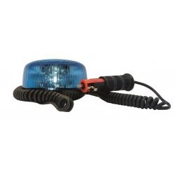 GYROPHARE BLEU SATELIGHT TOURNANT LED MAGNETIQUE + CORDON ALLUME CIGARE 12 A 24 V HOMOLOGUE R65
