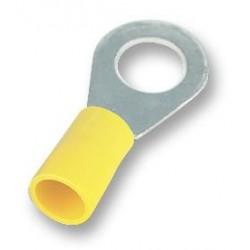 COSSE PREISOLEE JAUNE A ŒIL TROU DE 8 mm ( boite de 100 cosses )